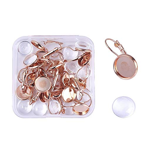 (Pandahall 1Box/20Sets Rose Gold Brass Lever Back Earring Hoop Earring Findings Kit with Clear Domed Glass Cabochon Tiles Settings Tray for DIY Jewelry Making Women Girls Decoration Crafts Tray: 12mm)