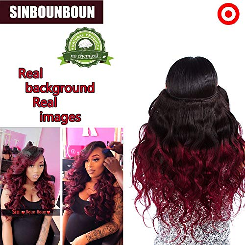 3pcs Mix Lenght Body Wave Bundles Ombre Black to Red Wine Burgundy Resistant Heat One Donator 100% Brazilian Real Remy Human Hair Extensions Weft Track Sew In(14