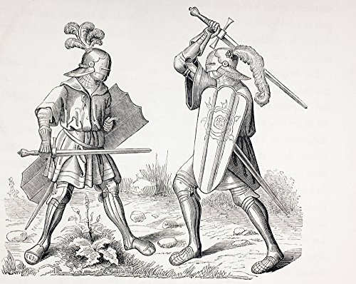 Two 15Th Century Fully Armoured Knights Fighting With Swords And Shields From Les Artes Au Moyen Age Published Paris 1873 Poster Print (32 x 26) (Armoured Knight)