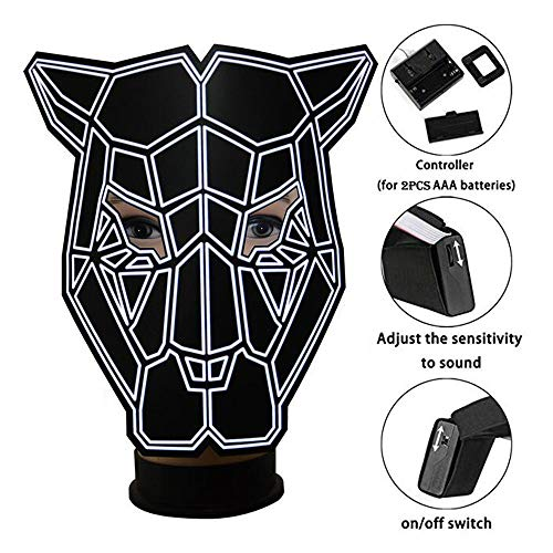 Unpara 2018 Halloween LED Mask Rave Dance Party Sound Reactive Light Up Adjustable Mask, Black by Unpara (Image #2)