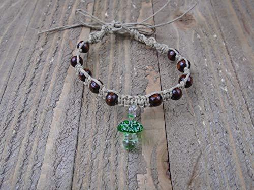 (BEACH HEMP JEWELRY Glow In The Dark Mushroom Anklet Bracelet Handmade In USA Adjustable)