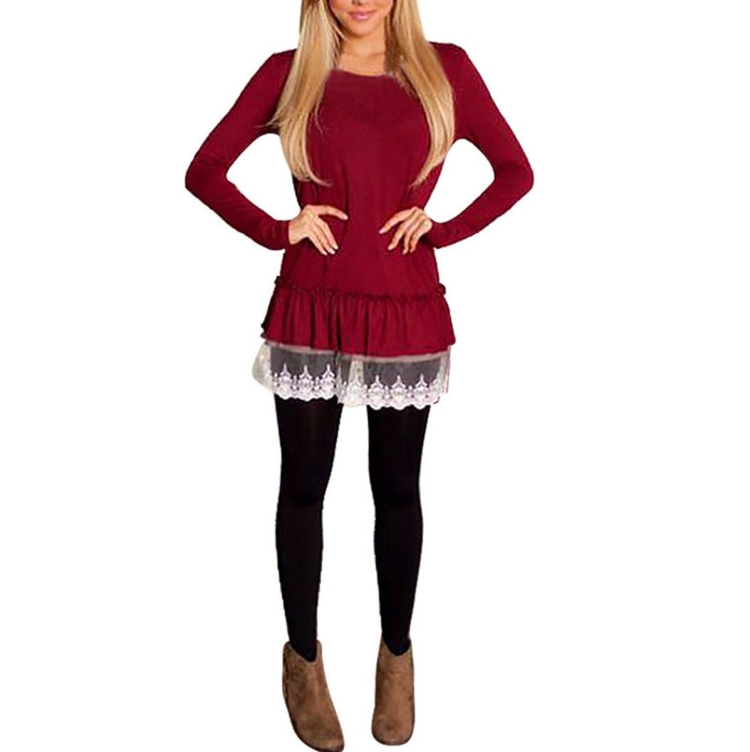 Gotd Women Lace Long Sleeve Solid Tops Blouse Shirt (M, Wine)