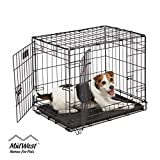 "Dog Crate | MidWest ICrate 24"" Double Door Folding Metal Dog Crate w/ Divider Panel, Floor Protecting Feet & Leak-Proof Dog Tray 