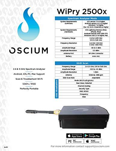 Oscium WiPry 2500x, Wi-Fi Spectrum Analyzer (iOS, Android, PC, Mac)