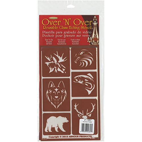 Armour Products 21-1657 Over N Over Glass Etching Stencil, 5-Inch by 8-Inch, Wild Things (Etching Stencil)