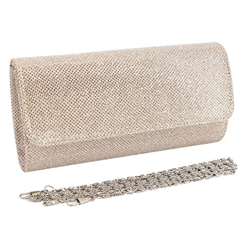 Naimo Flap Dazzling Clutch Bag Evening Bag With Detachable - Champagne Clutch