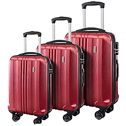1cc6c1736702 Seanshow Luggage 3 Piece Set ABS Spinner HardshellSuitcase 20 24 28inch  burgundy