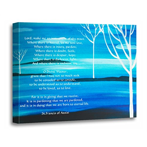 TORASS Canvas Wall Art Print Poem Simple Prayer by St Francis of Assisi Quote Artwork for Home Decor 12