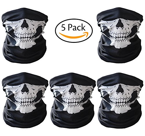 Skull Face Mask,5 Pack Motorcycle Outdoor Skeleton Tube Face