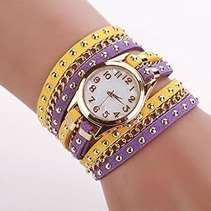 inkach® mujeres cristal remache pulsera trenzada Winding Wrap pulsera de cuarzo (morado + amarillo)