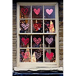 140 PCS Valentine's Day Heart Window Clings Decal Wall Stickers - Party Decorations Ornaments Supplies (4 Sheets) by Moon Boat