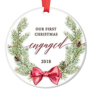 "Our First Christmas Engaged Ornament 2019 Seasonal Evergreen Wreath Porcelain Keepsake 1st Holiday Engagement Gift Future Bride & Groom 3"" Flat Ceramic Collectible w Red Ribbon & Free Gift Box OR00038 99"