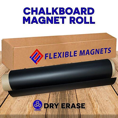Black Dry Erase Chalkboard Magnet Sheet/roll for Kitchen or Office, With white Magnetic Chalk marker (2 ft x 5 (5' Chalkboard Eraser)