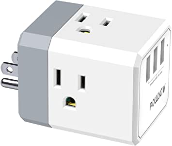 Multi Plug Outlet, POWSAV USB Wall Charger with 3 USB Ports(Smart 3.0A Total) and 3-Outlet Extender with 3 Way Splitter, No Surge Protector for Cruise Ship Accessories, ETL Listed