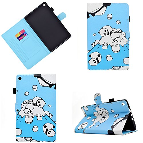 Kindle Fire HD 8 Case,LittleMax PU Leather Case Flip Stand Protective Auto Wake / Sleep Cover for Amazon Kindle Fire HD 8 7th Gen 2017 Release & 6th Gen 2016 Release with Free Stylus-01 Cute Panda
