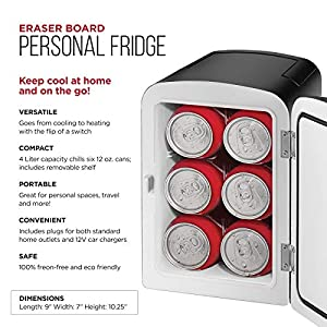 Chefman Mini Portable Eraser Board Personal Fridge, Cools & Heats 4 Liter Capacity, Chills 6 12oz cans, 100% Freon-Free & Eco Friendly, Includes Plugs for Home Outlet & 12V Car Charger,