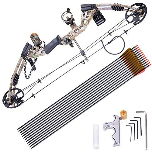 TRIPREL INC. Powerful Carbon Fiberglass Archery Right Hand Camo Compound Bow Set w/ 12 Carbon Arrows