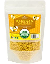 US Organic Beeswax 100 % Pure Yellow Pastilles, USDA Certified, 4 Ounce Small pack