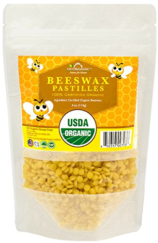 - US Organic Beeswax 100% Pure Yellow Pastilles, USDA Certified, 4 Ounce Small Pack