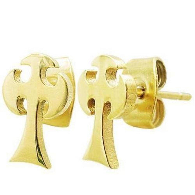 """Golden Stainless Steel Celtic Cross Stud Men's Earrings - 10 mm x 6 mm (.39"""" x .23"""")"""