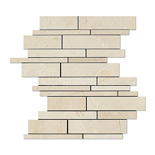 Crema Marfil Spanish Marble Random Strip Mosaic Tile, Polished
