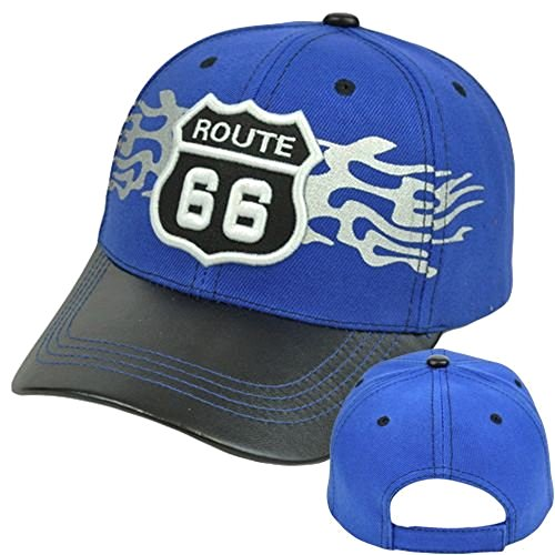 Historic Route 66 First Highway America Faux Leather Bill Hat Cap (Royal/Black Bill) (Route 66 Visor)