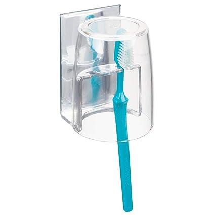 MetroDecor mDesign Soporte para cepillos de Dientes Excelente portacepillos con Vaso de Enjuague bucal para armarios