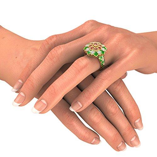 Or jaune 18K, 0.24carat Diamant Blanc (IJ   SI) Rubis et diamant Bague