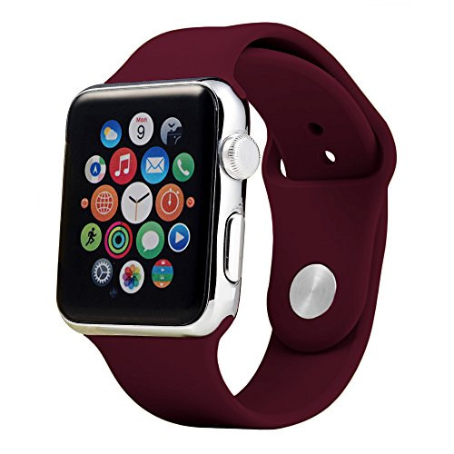 Soft Silicone Sport Replacement Bands for Apple Watch Series 1, Series 2, Series 3 S/M 38mm/42mm (38mm-Maroon)