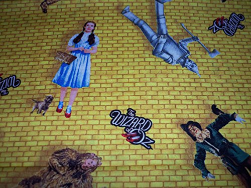 Wizard of Oz Fabric all the Characters Yellow Brick Background By The Fat Quarter New BTFQ