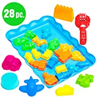 USA Toyz Play Sand Castle Moldes - 28pc Play Sand Moulds w /Sand Tray Juguetes sensoriales para niños w /Car, Plane, Animal Shape y Sand Castle Moulds