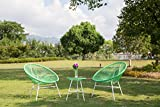 PatioPost Outdoor Acapulco Sun Weave Lounge Patio Chair with Top Glass Table 3 pcs, Green