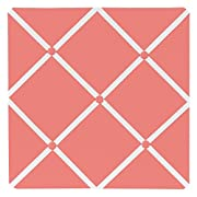 Sweet Jojo Designs Modern White and Coral Diamond Geometric Fabric Memory/Memo Photo Bulletin Board