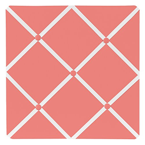 Sweet Jojo Designs Modern White and Coral Diamond Geometric Fabric Memory/Memo Photo Bulletin Board (Coral Picture)