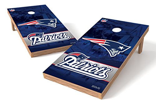 (Wild Sports NFL Standard Size Cornhole Set, New England Patriots, Two 2' x 4' Boards and 8 Bags)