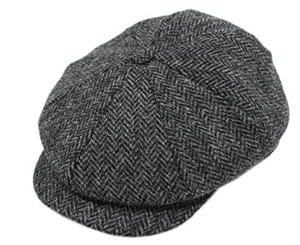 0f84f8d08f719 John Hanly Irish Hats for Men Blinder Hat Wool Charcoal Herringbone Made in  Ireland Medium