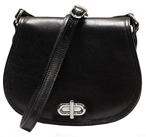 Floto Women's Saddle Bag in Black Italian Calfskin Leather - Handbag Shoulder Bag