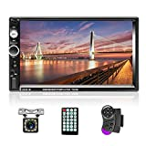 """AMPrime Double Din Car Stereo Radio with Bluetooth 7"""" Touch Screen FM Receiver MP5 Car Player Support Mirror Link for Phone + Backup Camera /Steering Wheel Control+Remote Control"""