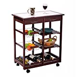 Giantex 4-tier Rolling Wood Kitchen Trolley Cart w/Storage Drawers Dining Portable Stand (Purplish Red)