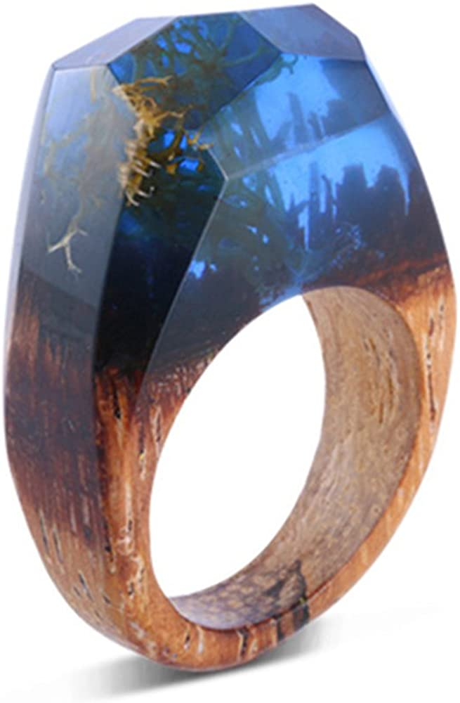 LILILEO Jewelry Handmade Wood Blue Resin Ring With Nature Scenery Landscape Inside Rings