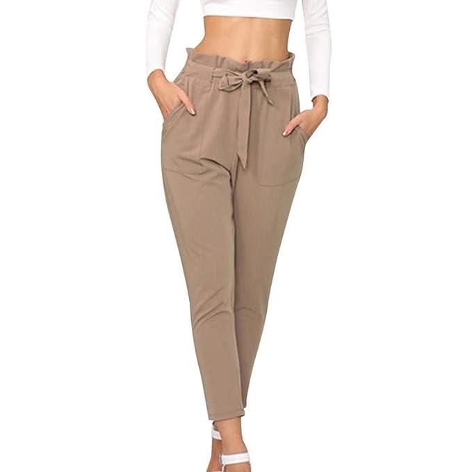 c1c69c094 Verano Elegantes Moda Mujer 7 8 Pantalones De Tiras Plisado Fiesta Estilo  con Cinturón Cintura Media Bolsillos Delanteros Color Sólido Delgado Slim  Fit ...