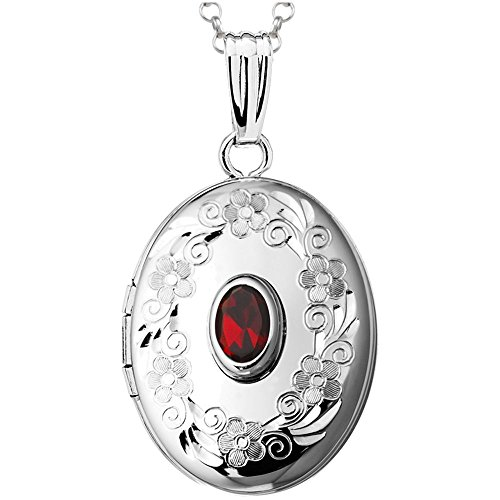 Finejewelers Sterling Silver Oval Locket Pendant Necklace with Genuine Garnet January Birthstone