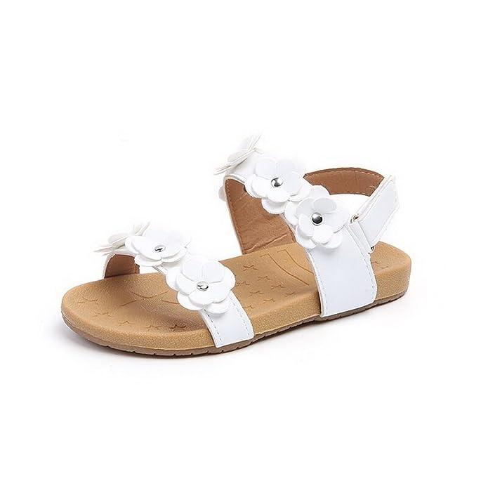 Beautoday Girl's Flower Open Toe Strap Sandals Flat White Sandal Water Sandals(Toddler/Little Kid)