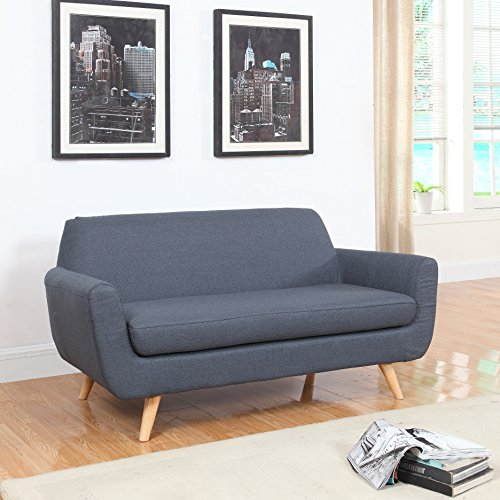 Mid Century Grey Linen Fabric Sofa and Love Seat