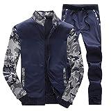 Pervobs Autumn Mens Tracksuit Warm Fleece Sport Sweatshirt Coat +Pants Sweat Suit