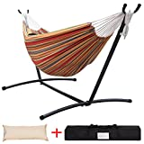 Lazy Daze Hammocks Double Hammock with Space Saving Steel Stand Includes Portable Carrying Case and Head Pillow, 450 Pounds Capacity (Techno)