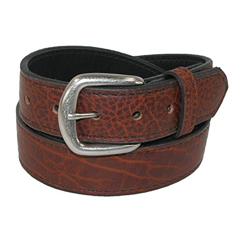 Boston Leather Men's Big & Tall Bison Leather Belt with Removable Buckle, 60