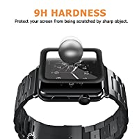 Amoner iWatch Screen Protector 42mm, [3D Full Coverage] [Anti-Scratch] [High Definition] Tempered Glass Screen Protector for Apple Watch 42mm Series 3/2/1 (Black) by Amoner