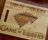 Custom Large Cutting Board Game of Thrones GOT personalized bamboo cutting board cheese board with your name House