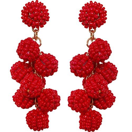 Red Beaded Earring - 6